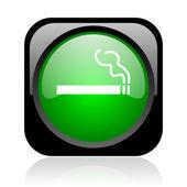 Fumar icono brillante web cuadrado negro y verde — Foto de Stock