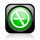 No smoking negro y verde cuadrado icono brillante web — Foto de Stock