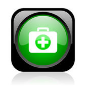 First aid kit black and green square web glossy icon — Stock Photo