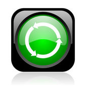Refresh black and green square web glossy icon — Stock Photo