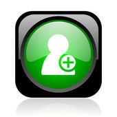 Add contact black and green square web glossy icon — Stock fotografie