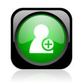 連絡先の黒と緑の正方形ウェブ光沢のあるアイコンを追加します。 — ストック写真