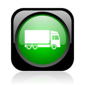 Delivery black and green square web glossy icon — Stock Photo