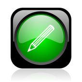 Pencil black and green square web glossy icon — Stock Photo
