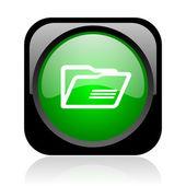 Folder black and green square web glossy icon — Stock Photo