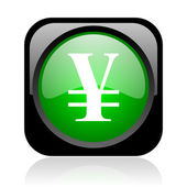 Yen black and green square web glossy icon — Stock Photo