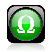 Omega black and green square web glossy icon — Stock Photo