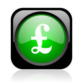 Pound black and green square web glossy icon — Stock Photo