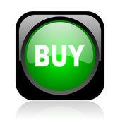 黒と緑の正方形ウェブ光沢のあるアイコンを購入します。 — ストック写真