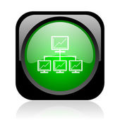 Network black and green square web glossy icon — Stock Photo