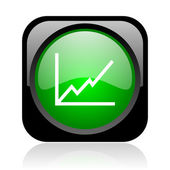 Chart black and green square web glossy icon — Stock Photo