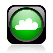 Weather forecast black and green square web glossy icon — Stock Photo