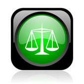 Justice black and green square web glossy icon — Stock Photo