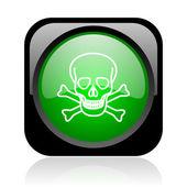 Kafatası siyah ve yeşil parlak web simgesi kare — Stok fotoğraf