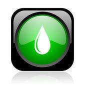 Vatten droppe svart och grön fyrkant spindelväv blanka ikonen — Stockfoto