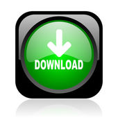 Download black and green square web glossy icon — Stock Photo