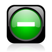 Minus black and green square web glossy icon — Stock Photo