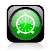 Alarm clock black and green square web glossy icon — Stock fotografie