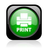 Print black and green square web glossy icon — Stock Photo