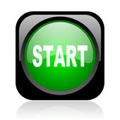 Start black and green square web glossy icon — Stock Photo