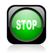 Stop black and green square web glossy icon — Stock Photo