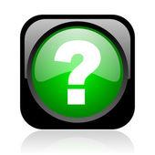问号黑色和绿色方形 web 光泽图标 — 图库照片