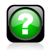 Question mark black and green square web glossy icon — Stock Photo