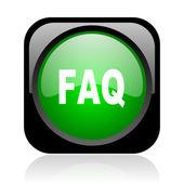 Faq black and green square web glossy icon — Stock Photo