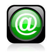 At black and green square web glossy icon — Stock Photo