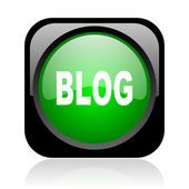 Blog black and green square web glossy icon — Stock fotografie