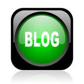 Blog noir et vert carré icône glossy web — Photo