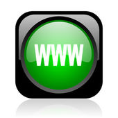Www black and green square web glossy icon — Stock Photo