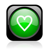 Heart black and green square web glossy icon — Stock Photo