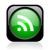Rss black and green square web glossy icon — Stock Photo
