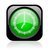 Clock black and green square web glossy icon — Stock Photo