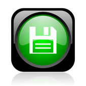 Disk black and green square web glossy icon — Stock Photo