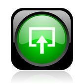 Enter black and green square web glossy icon — Stock Photo