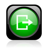 Exit black and green square web glossy icon — Stock Photo