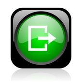 Parlak siyah ve yeşil kare web simgesi çıkmak — Stok fotoğraf