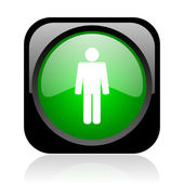 Man black and green square web glossy icon — Stock Photo