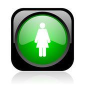 Kadın siyah ve yeşil parlak web simgesi kare — Stok fotoğraf