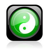 Ying yang zwart en groen plein web glanzende pictogram — Stockfoto