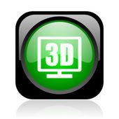 3d zobrazení černé a zelené náměstí lesklý ikona webové — Stock fotografie