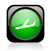 Airplane black and green square web glossy icon — Stock Photo