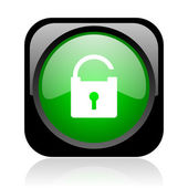 Padlock black and green square web glossy icon — Stock Photo