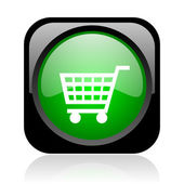 Shopping cart black and green square web glossy icon — Stock Photo
