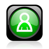 Account black and green square web glossy icon — Stock Photo