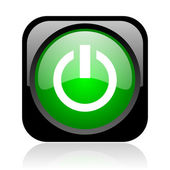 Power black and green square web glossy icon — Stock Photo