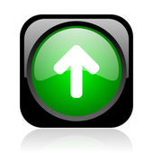 Arrow up black and green square web glossy icon — Stock Photo