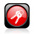 Keys black and red square web glossy icon — Stock Photo